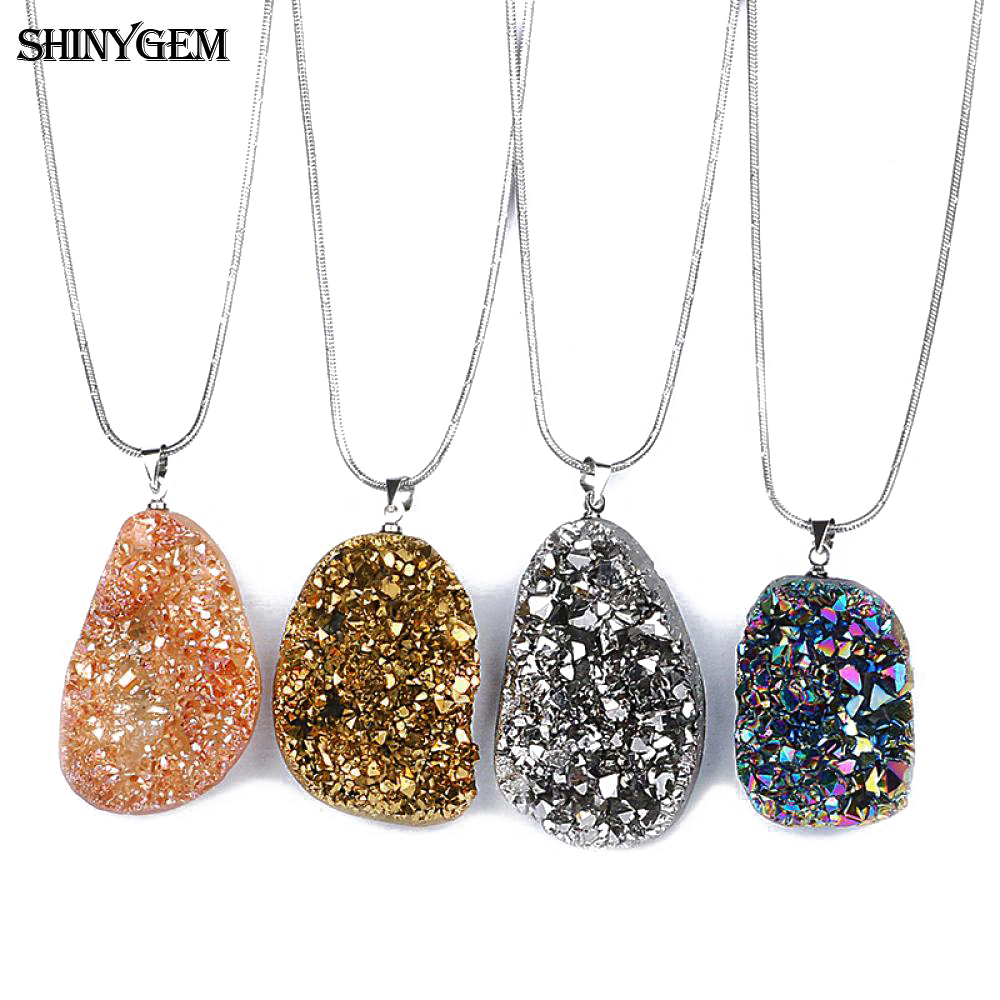 Shinygem Rainbow Crystal Necklace Druzy Raw Natural Stone