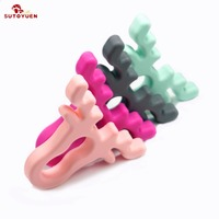 Sutoyuen 8pc Silicone Baby Teether Animal Antlers Teether Necklace Baby Pacifier Beads Teething Chewable Nursing Toys