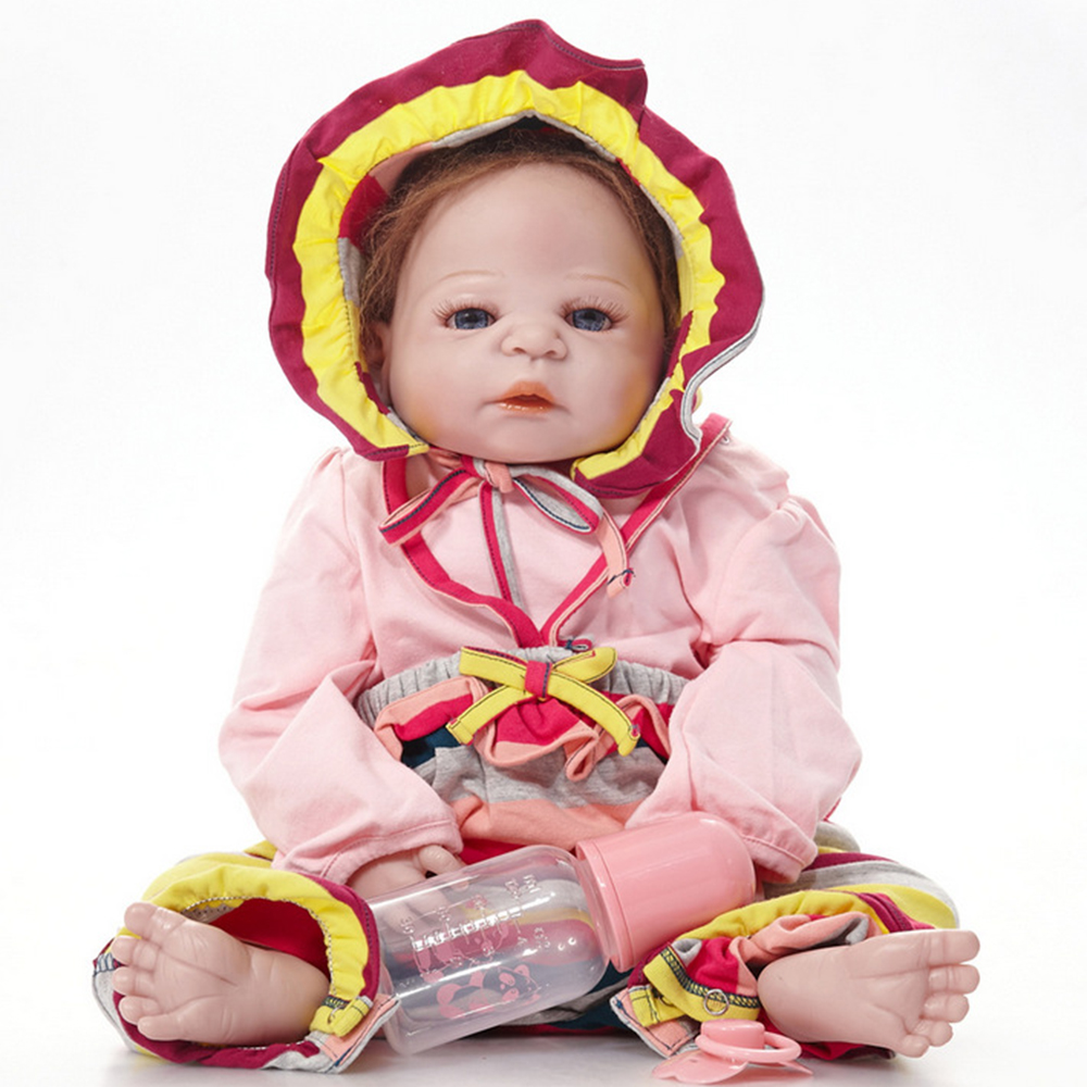 22 inches Full Silicone Vinyl Newborn Baby Doll Lifelike Reborn Princess Girl Doll for Kids Toy Birthday Xmas Gift Bebe 55cm full silicone newborn princess girl doll lifelike reborn baby doll toy for kids birthday xmas gift bebe