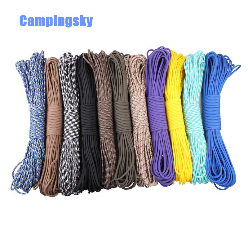 DHL Free Shipping 200 Colors Paracord 550 Paracord Parachute Cord Lanyard Rope  Spec Type III 7 Strand 100ft Climbing Camping