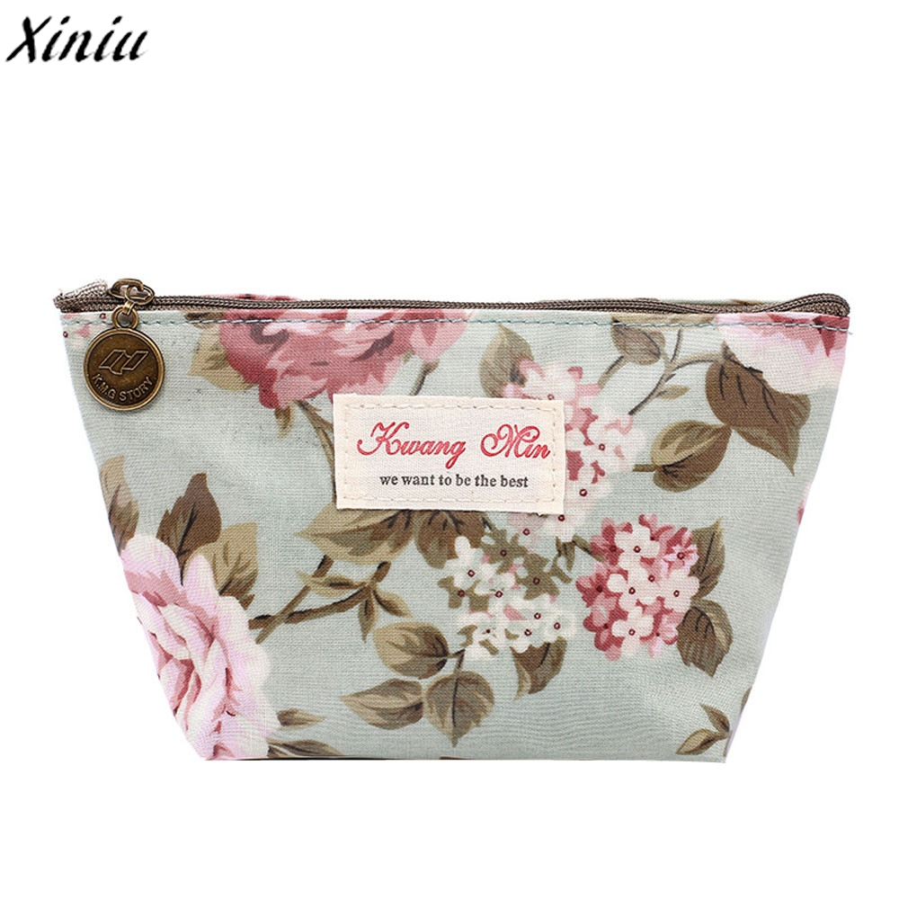 Vintage Cosmetic Bag Floral Printed Makeup Bags Female Zipper Cosmetics Case Portable Travel Make Up Pouch Bolso Maquillaje*7718 new arrival female zipper cosmetics bag large cosmetic bag women make up bags portable travel make up pouch