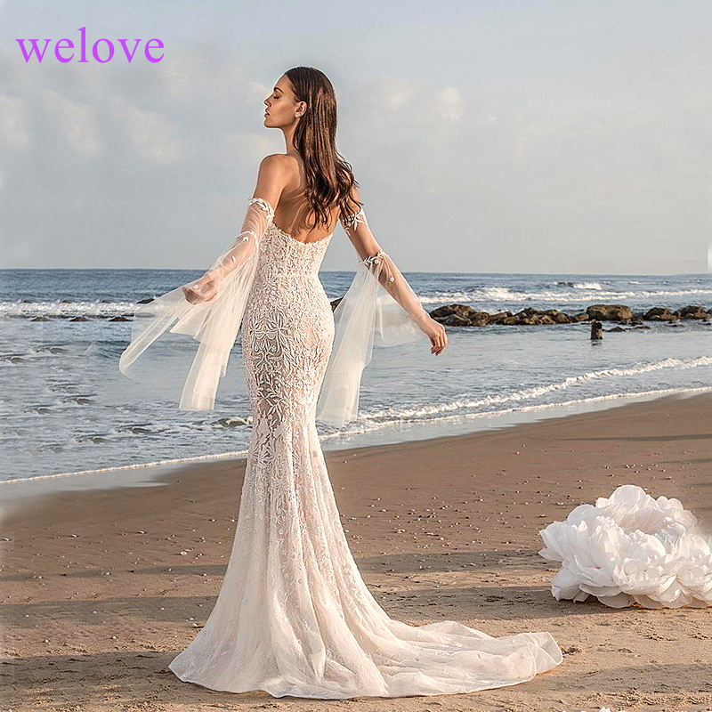 Sexy Mermaid Long Wedding Gowns 2019 Wedding Dress Women Formal Ivory V Neck Lace Backless Sweep