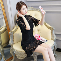 New Arrival Summer Women S Mini Cheongsam Fashion Black Chinese Style Lace Dress Elegant Qipao Vestido