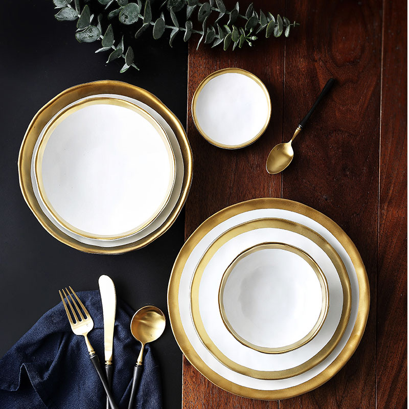 Chic Luxury Western Ceramic Tray Gold Plated Edge Salad Dish Cultery Plate Steak Pasta Fruit Food Tableware Bowl 10 8 7inch