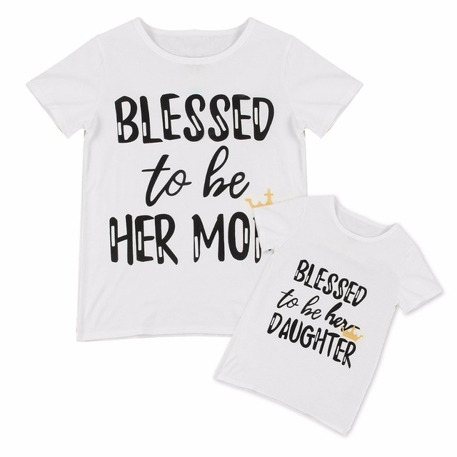 Fashion Family Matching Clothes Mother Daughter Short Sleeve T Shirt Top Woman Kids Casual