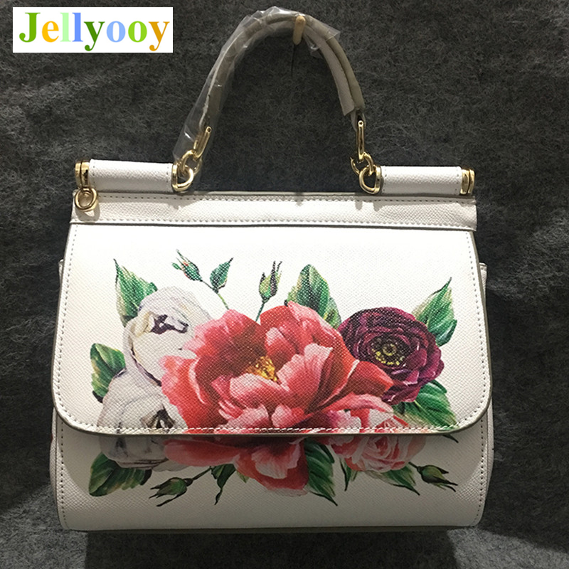 Luxury Italy Brand Real Leather Top Quality Handbag Women Bags Print Big Flower Red Rose Shoulder Bag Famous Designer Pink White xmas white tank top 6th sparkle red birthday number print red snowflakes ruffles