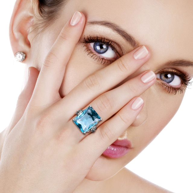 100% Authentic 925 Sterling Silver Dazzling Aquamarine Finger Rings for Women Simulate Diamond Wedding Engagement Jewelry Gift