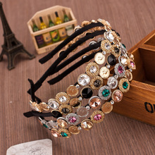 Hot Sell Baroque Luxury Crystal Hairband Vintage Women Retro Beauty Head And Coin Rhinestone Brand Headdress Pearl Hair Jewelry