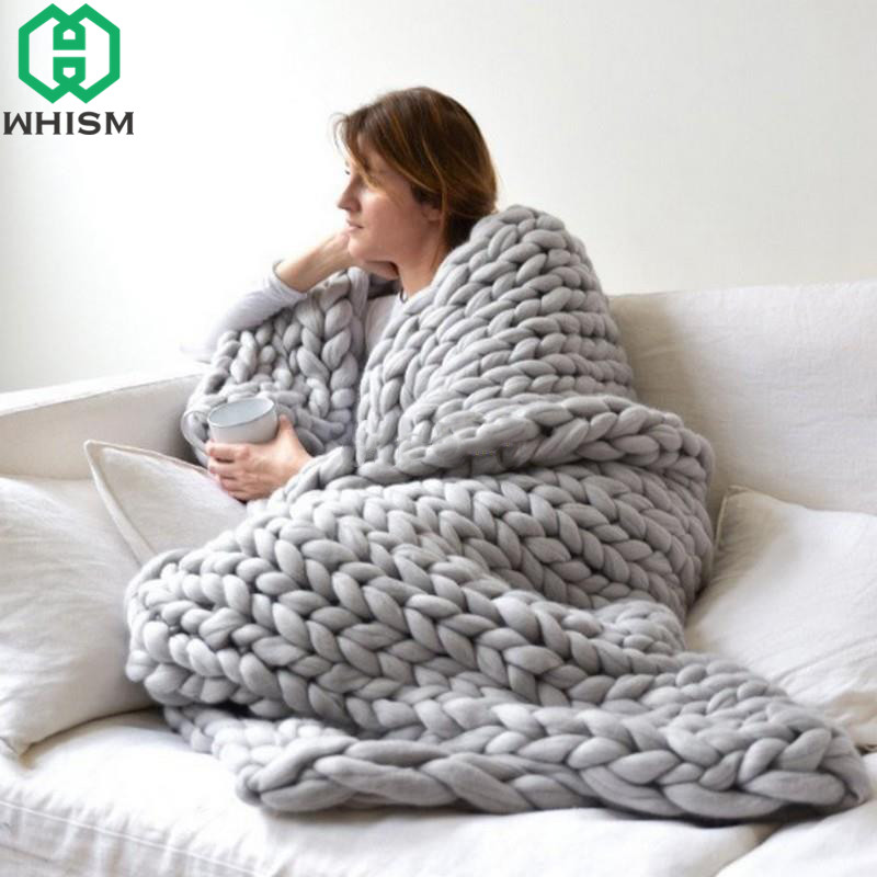 WHISM Chunky Knit Blanket Acrylic Thick Yarn Blankets Sofa Throw Blanket Handmade Knitted Blanket for Beds Bedroom cobertores