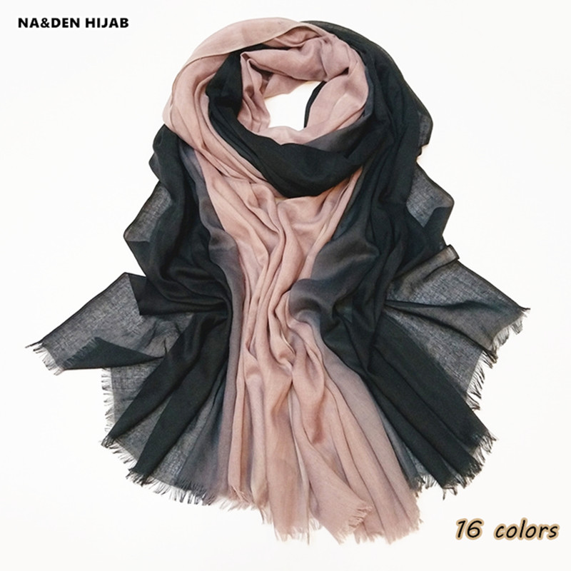 2018 cotton ombre hijab scarf fringe soft women shawls and scarves elegant islamic scarfs color shade cosy high quality 17 color