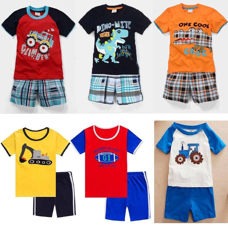 цена на 2018 Baby Boy Clothes Suits Summer Children T-Shirts Shorts Pant 2-Piece Clothing Set Beach Kids Outfits Sport Suit 2 3 4 5 6 7Y