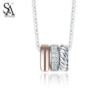 Círculo de PLATA DE Plata de Ley 925 Collares y Colgantes Joyería Fina Mujeres Oro Rosa Cubic Zirconia 2016 Nuevo Regalo 11.11, 18″