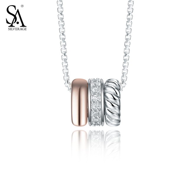 SILVERAGE 925 Sterling Silver Necklaces & Pendants Circle Fine Jewelry Women Rose Gold Cubic Zirconia 2016 New 11.11 Gift,18″