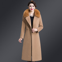 2019 winter wool coat women 5XL long fox fur collar double faced cashmere coat Blends Sashes Slim Pockets Coat Outerwear