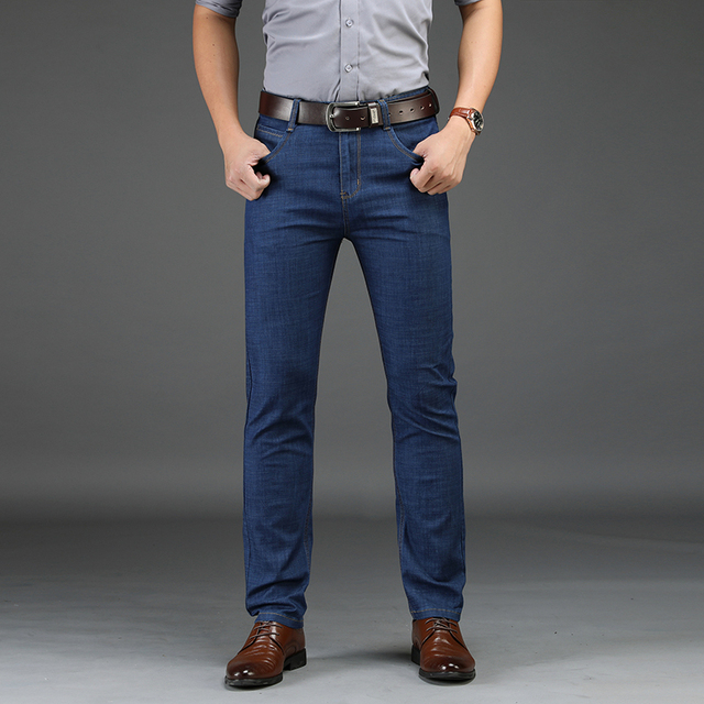 2019 New Men Classic Business Jeans Fashion Casual Primary Color Slim Fit Small Straight Male Trousers