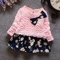 New chegou 2016 primavera outono padrão de flor da criança meninas vestidos bonito faux 2 pcs vestido de bebê para recém-nascido vestido infantil