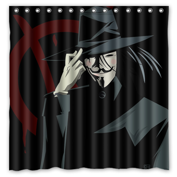 V for Vendetta Printed Polyester Shower Curtain Waterproof Home Bathroom Curtains With 12 Hooks 180x180CM
