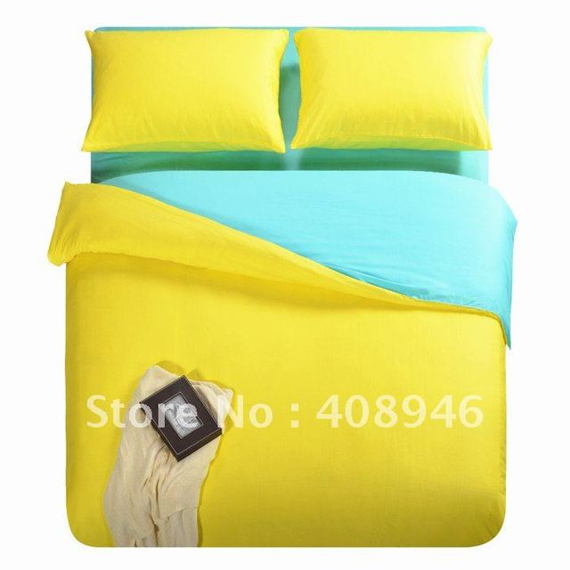 $10 off per $100 order 120221 Fedex free shipping!  40s 100%  cotton yellow+blue  color luxury bedding set / 4pcs duvet cover