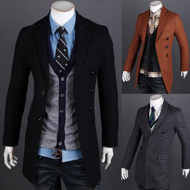 Hombres abrigo por tiempo limitado lana peinada manga costilla sólido escudo marca para hombre primavera delgado Trench la ropa de moda prendas de abrigo moda hombres