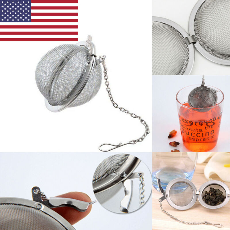 Tea Infuser Stainless Steel Sphere Mesh Tea Strainer Coffee Herb Spice Filter Diffuser Handle Tea Ball