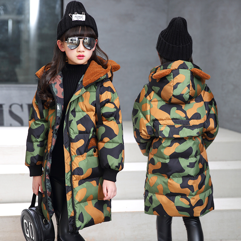 4-12Y Girls Winter Coat Long Duck Down Thick Hooded Winter Jacket For Girls Camouflage Print Brand Casual Children Parka thick hooded down jacket women slim print long winter coat camouflage y160