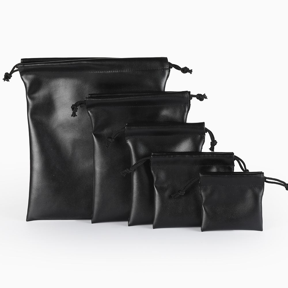 1 Pcs Packaging Bag Black Leather Drawstring Box Wedding Christmas Jewelry Bag
