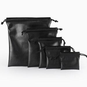 1 pcs Packaging Bag Black Leather Drawstring Box Wedding Christmas jewelry Bag