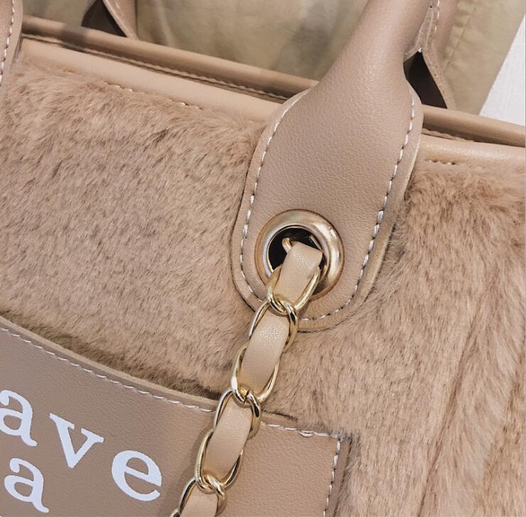 Winter Fur Letters Tote Chain Handbag Bag Women Crossbody Bag Female Shoulderbag #280 4