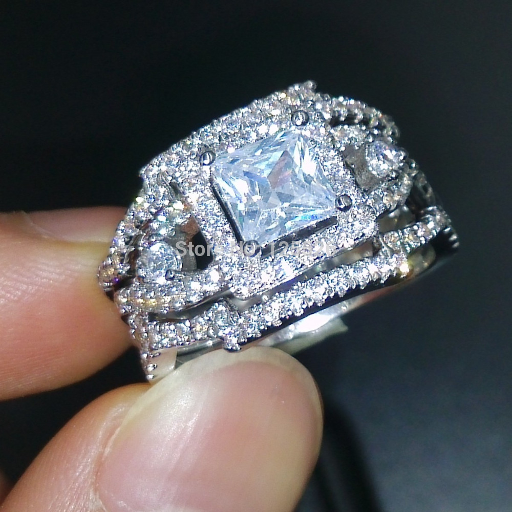 choucong dazzling engagement stone 5a zircon stone 925 silver cross 3 wedding band ring set sz
