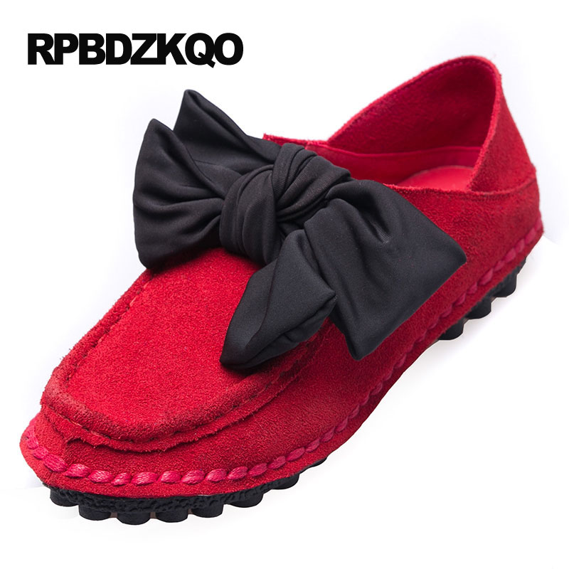 Bowknot Cowhide Low Cut Uppers Moccasin Pure Color Trendy Comfy Genuine Leather Loafers Women Shose Women All Match