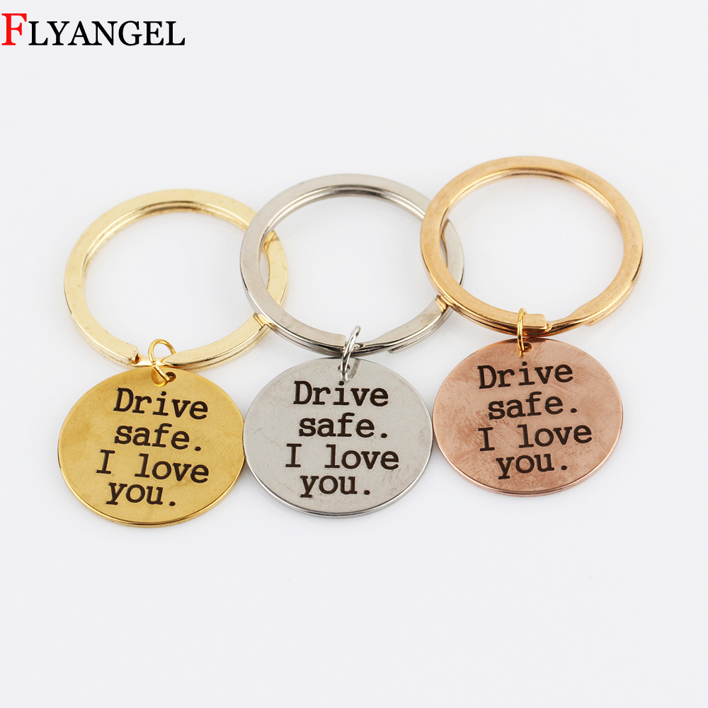 Personalized Drive safe I Love You Key Rings Engraved Car Key Chain for Boyfriend Girlfriend
