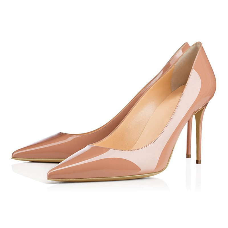 Brand New 2018 Autumn Women Pumps Pu Leather High Heels Pointed Toe Red Shoes Woman Dress Party Office Ladies Pumps TL-A0113