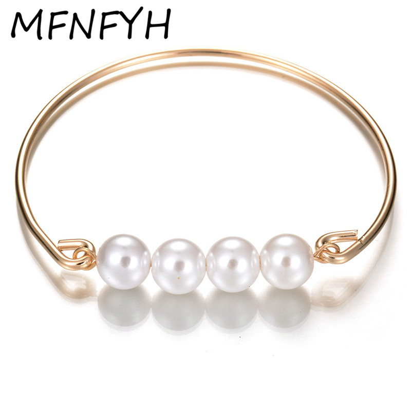 MFNFYH Luxury Imitation Pearl Beads Screw Bangles 2017 New Design Gold Color Carter Love Bracelet For Women Party Jewelry Bijoux