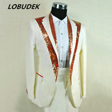 2015 man suit blazer pants groom dress men's clothing red white set clothes costume for singer dancer party wedding formal