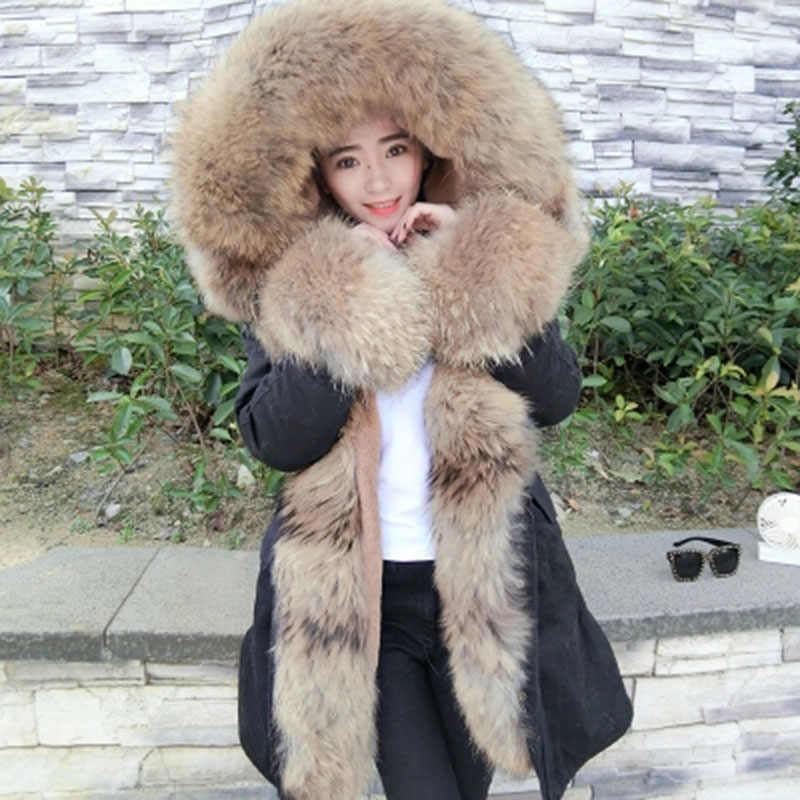 aab062e2ece wholesale real fur coat long parka winter jacket coat women biggest raccoon  fur collar cuffs parkas