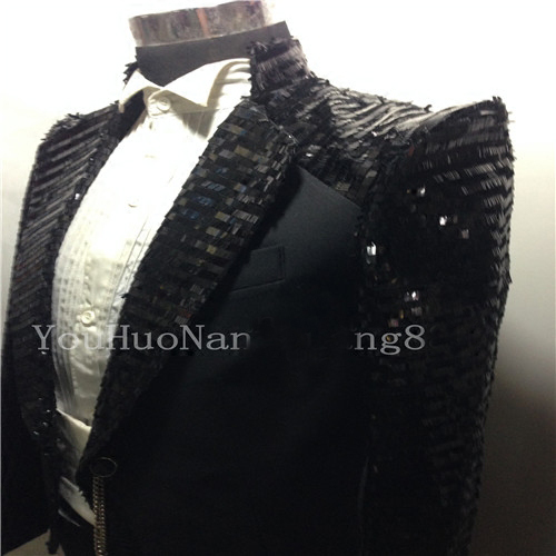 100%real can customs making/ black sequined tuxedo swallowtail magician jacket/party/stage performance/this is only jacket