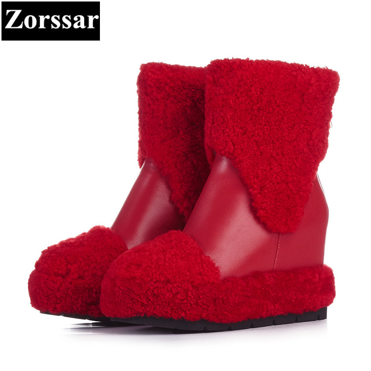 {Zorssar} 2017 NEW winter plush Womens Boots Genuine Leather platform wedges ankle snow Boots fashion High heels women shoes fedonas top quality winter ankle boots women platform high heels genuine leather shoes woman warm plush snow motorcycle boots