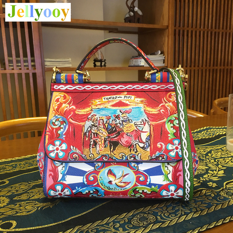 Luxury Italy Brand Sicily Ethnic Floral Bag Leather Sicilian Casual Tote Platinum Package Lady Shoulder Messenger Bag Sac A Main luxury italy brand sicily ethnic bag genuine leather women casual tote platinum bags star moon print lady shoulder messenger bag