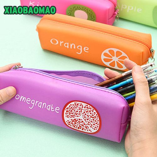 New Cute school pencil case bag for girls Fruit pencil-case School Supplies Pens Pencils Writing Supplies Gift fruit print pencil case