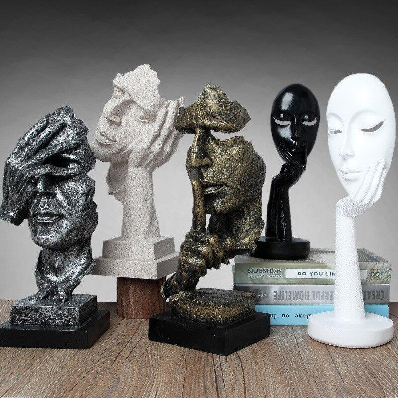 Rétro vintage Creative Caractères Abstraits Ne Pas Écouter Regarder Sculpture Décor À La Maison De Bureau Décoration Artisanat Cadeau D'anniversaire