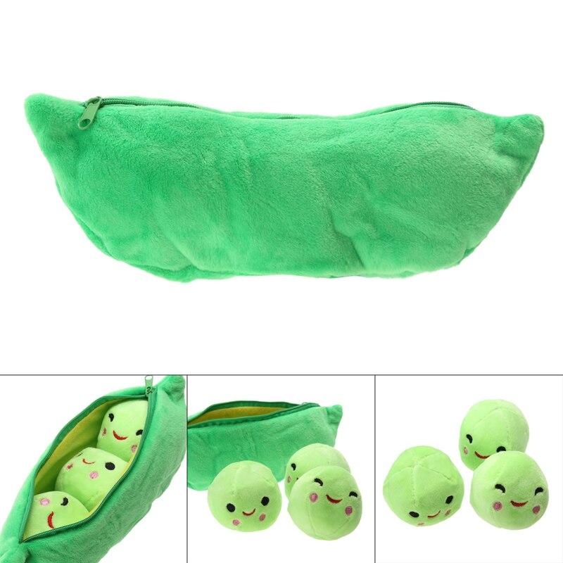 25CM Green Pods Pea Plant Plush Toys Kids Beans Shape Stuffed Plush Toys Soft 3 Smile Balls With Bag Children Toy Random Color