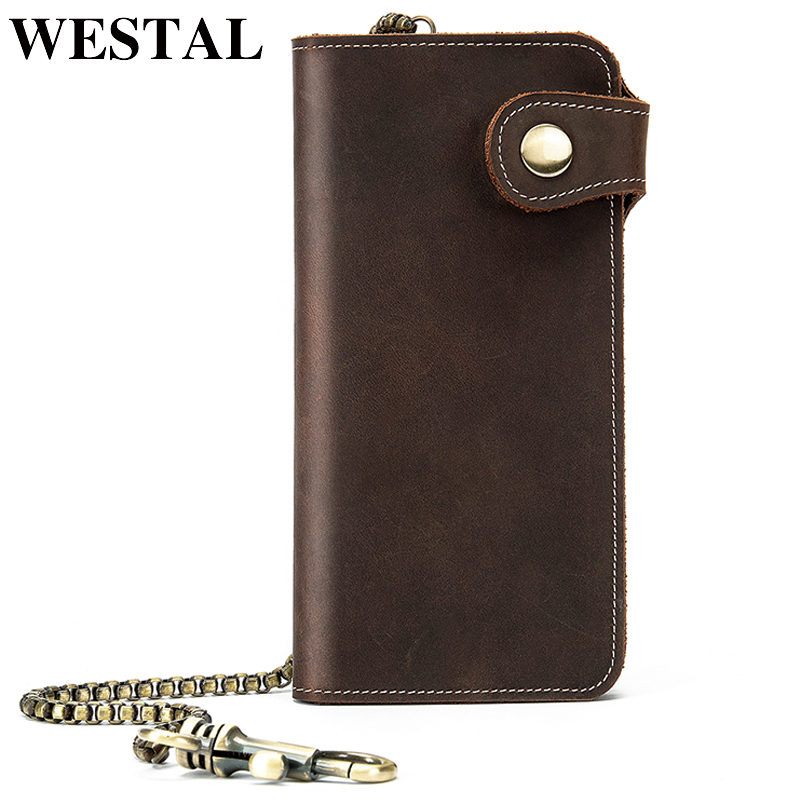 WESTAL cluth male genuine leather men's wallet long purse for man coin purse men's credit card holder genuine natural leather