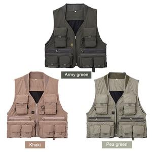 Image 3 - 야외 낚시 양복 조끼 민소매 메쉬 남자 낚시 자켓 멀티 포켓 조끼 사진 낚시 사냥 등산