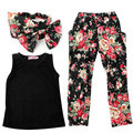 Newest 3 PCS/Set Girls Baby Clothing Sets  Sleeveless Shirt/Tops + Floral Pants + Headband Vogue Clothes 2-6 Year