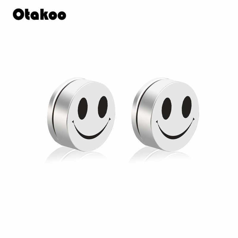 Otakoo Trendy Cartoon twarzy śliczne stadniny kolczyki nie Piercing magnes okrągły moda kobiety i mężczyźni magnetyczne kolczyki Brincos biżuteria