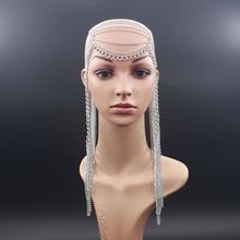 Wholesale Head Chain Women Silver Gold Long Tassel Aluminium Chain Layered Harness Body Jewelry Headdress Hair Accessories