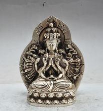 цена на tibet Buddhism fane Silver 1000 arm Kwan-Yin Guan Yin Bodhisattva buddha statue
