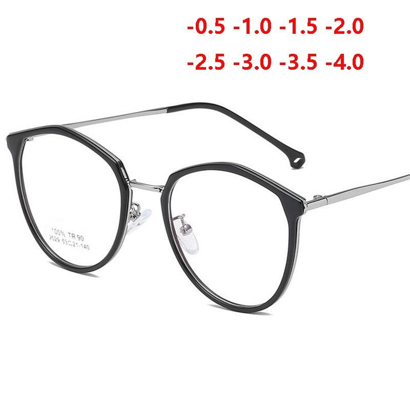 Ultralight TR90 Frame 1.56 Aspherical Lens Prescription Eyeglasses Retro Literary Student Finished Myopia Glasses 0 -0.5 To -4.0