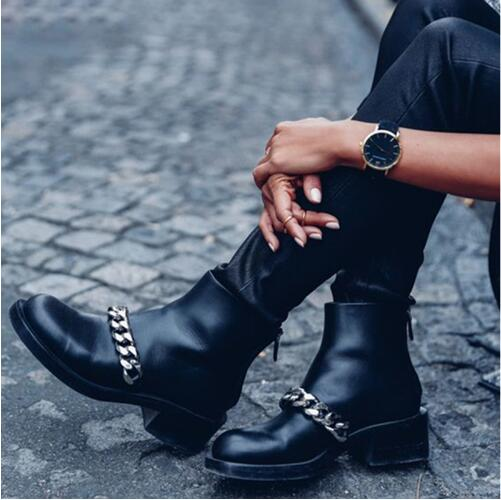 Fashion Zipper Women Booties Autumn Shoes Round Toe Low Chunky Heel Motorcycle Boot Black Leather Gold Silver Chain Ankle Boots front lace up casual ankle boots autumn vintage brown new booties flat genuine leather suede shoes round toe fall female fashion