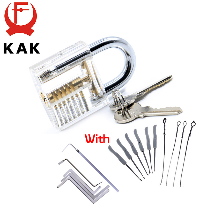 KAK Transparent Visible Pick Cutaway Practice Padlock Lock With Broken Key Removing Hook Kit Extractor Set Locksmith Wrench Tool 30mm transparent visible pick cutaway practice padlock lock with broken key remove hook extractor set locksmith wrench tool